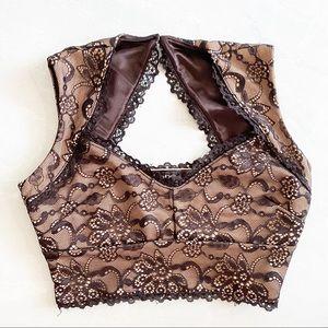 BEBE crop top lace black and nude color sz S